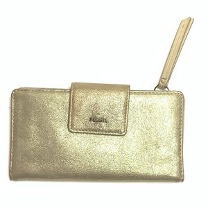 Fossil Emma Wallet Gold Metallic Leather Clutch